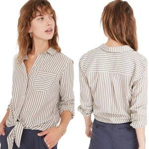 Madewell Maitland Striped Tie Front Button Down XS